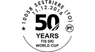 PHILATELIC CANCELLATION TO CELEBRATE 50 YEARS WORLD CUPS IN SESTRIERE